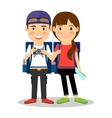 Backpackers young tourist couple vector image