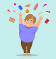 cartoon fat boy catching sweets vector image