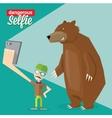 Dangerous selfie with bear concept vector image
