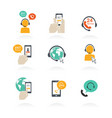 icons of global online support service open 24 vector image