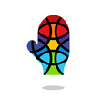 Mosaic hand icon Mitten icon Isolated vector image
