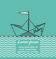 origami paper ship victory on sea waves vector image