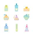 Vintage Perfume Bottle Color Set vector image