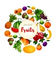 Garden and exoic fruits round poster vector image