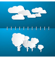 Paper Clouds and Trees on Blue Notebook Background vector image vector image