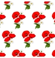 Seamless pattern with chamomile and poppies vector image