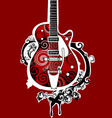 funky guitar vector image vector image
