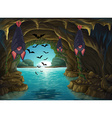 Bats living in the dark cave vector image vector image