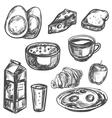 hand drawn breakfast food vector image