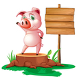 A pig above a stump near the empty signage vector image