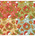 Collection of Christmas retro seamless patterns vector image