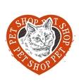 pet shop logo design template cat head or vector image