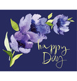 Postcard watercolor blue flowers vector image