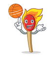 with basketball match stick character cartoon vector image
