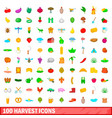 100 harvest icons set cartoon style vector image