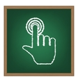 Hand click on button White chalk effect on green vector image