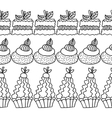 Black and white decorative border of cakes for vector image