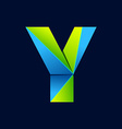 Y letter line colorful logo Abstract trendy green vector image