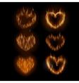 Fire hearts set vector image