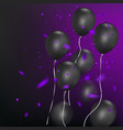 black balloons with colorful confetti on dark vector image
