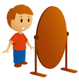 Boy with mirror vector image