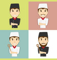 happy chef master with mustache and beard vector image