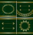 set of vintage golden frames on green backgrounds vector image