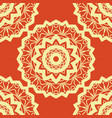 vintage mandala pattern retro yellow on red vector image