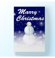 chrismas holyday card with snowman in winter night vector image