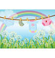 Hanging clothes for toddlers vector image