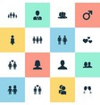 Set of simple couple icons vector image