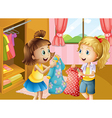 Two girls holding their new dresses vector image vector image