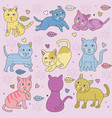doodle cats in many pose pastel colors vector image