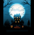blue halloween haunted house background vector image