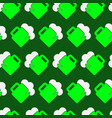 seamless pattern - green white beer with froth vector image
