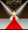 Stage podium with red carpet and star vector image