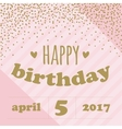 Happy birthday invitation with confetti for girl vector image