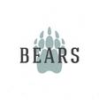 Bear trail hand drawn logo emblem template vector image vector image
