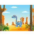 Cartoon cute dinosaur with prehistoric background vector image vector image