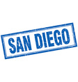 San Diego blue square grunge stamp on white vector image