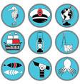 Nautical elements type 3 icons in knottet circle vector image