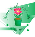 green plant with flower in pot isolated on green vector image