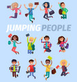 jumping people twelve happy students flat design vector image