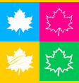 maple leaf sign four styles of icon on four color vector image