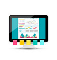 Modern web design with graphs on dashboard pc vector image