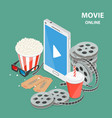 online movie flat isometric low poly concept vector image