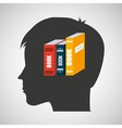 silhouette head boy student learning library vector image