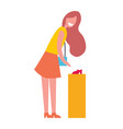 smiling woman bying shoes vector image