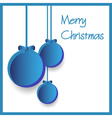 three blue paper christmas decoration baubles vector image