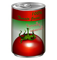 Fresh tomato juice in can vector image